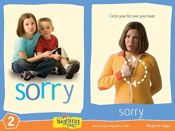 Sign of the Week Flash Card - Sorry